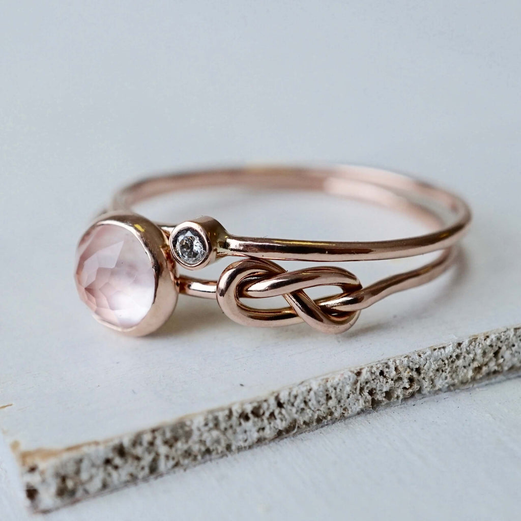 Rose Quartz Moissanite Infinity Ring Set in 14k Gold-Ring-LUXURING