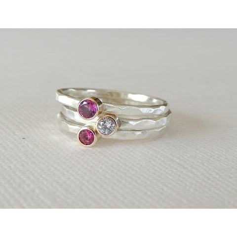 Ruby Ring Set in 14k Gold and Silver-LUXURING