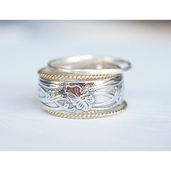 Stacking Rings in a Mix of 14k Gold and Sterling Silver-LUXURING