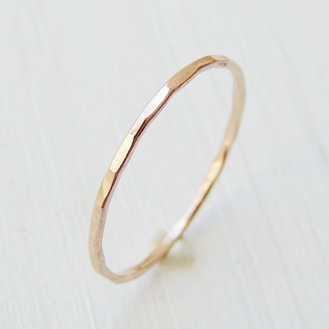 Thin 14k Rose Gold Ring-LUXURING