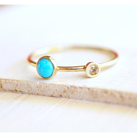 Turquoise and Diamond Ring in 14k Gold-LUXURING