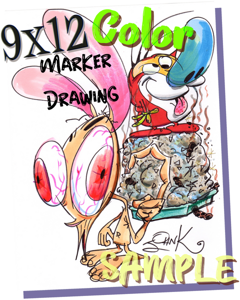 Art Original - Marker Card 9 x 12  in Color