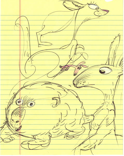Art Original - Breakfast Doodles - Marsupial Madness