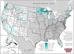 United States map highlighting Finnish ancestry