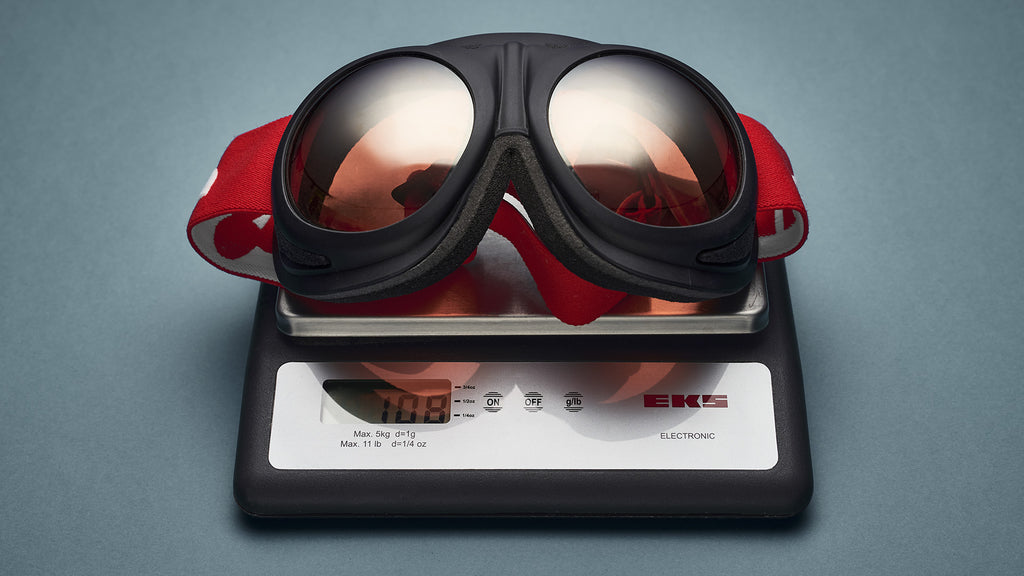 Close-up of Rovfluga goggles on a scale