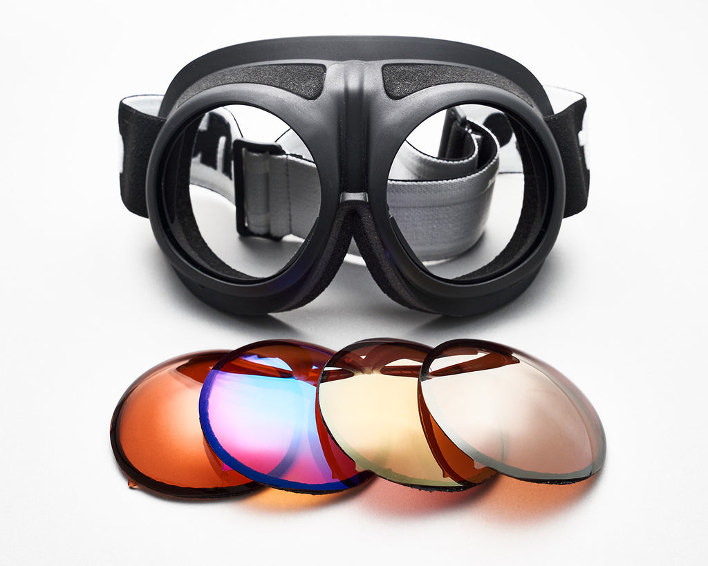 Closeup of black Fluga goggles with spare lenses by Zeiss.