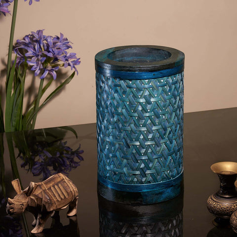 Decorative Starnet Bamboo Table Lamp(Peacock Blue)