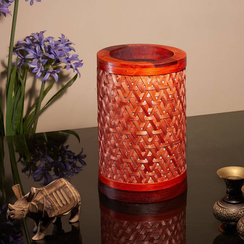 Decorative Starnet Bamboo Table Lamp(Scarlet Red)