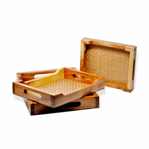 Decorative Wood & Bamboo Trays - Set of 3