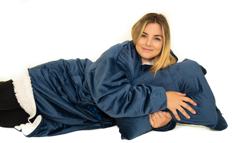 Tiktooky wearable oversized blanket hoodie, 100% polyester, warm, soft, cozy, comfy, Ultra-soft Microfiber, One plus size Fits All, best gift for women & men, navy blue