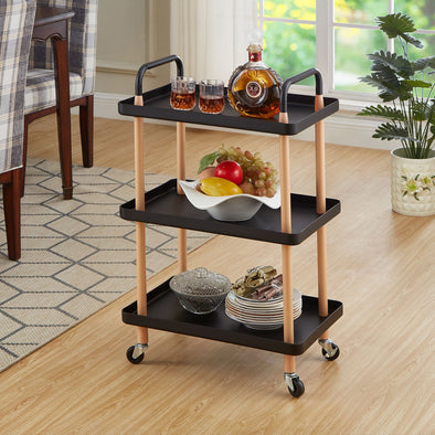 3-Tier Utility Rolling Cart, Utility Cart, Kitchen Cart Storage Trolley with 2 Brakes, Easy Assembly, for Kitchen, Bathroom, Laundry Room
