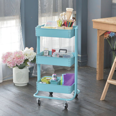 3-Tier Metal Utility Rolling Cart Heavy Duty Storage Trolley Cart Utility Organizer Rack Craft Art Cart Multi-Purpose Organizer Shelf Tower Rack Serving Trolley for Office Bathroom Kitchen