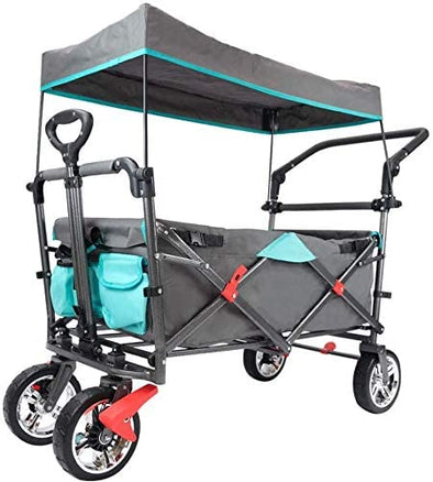 Push & Pull Utility Folding Wagon with Removable Canopy, Collapsible Garden Carts and Wagons with Wheels for Shopping, Picnic, Beach, Camping