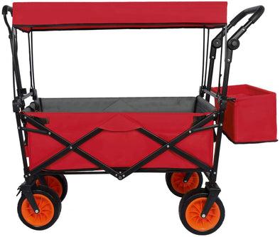 Folding Push Wagon Cart with Canopy Collapsible Outdoor Utility Wagon Portable Large Capacity Beach Wagon Heavy Duty Garden Cart for Shopping Camping Sports Outdoors (Red)