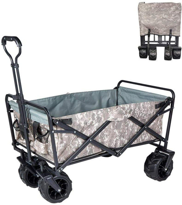 Heavy Duty Wagon Cart Outdoor Folding Utility Camping Garden Beach Cart with Universal Wheels Adjustable Handle Shopping (Snow Camouflage)