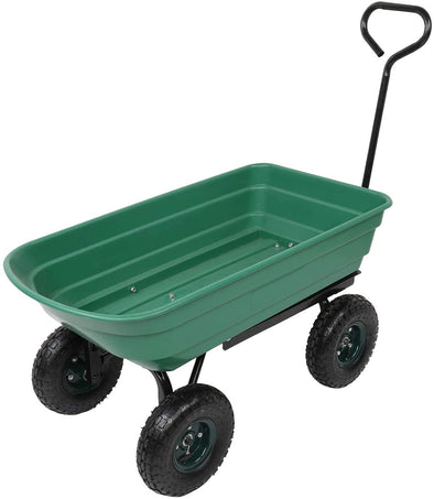 Garden Dump Utility Wagon Cart Multifunctional Wheelbarrow Sturdy Plastic Yard Lawn Cart