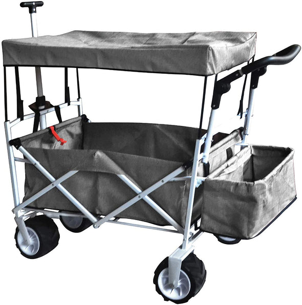Heavy Duty Beach Sport Outdoor All Terrain Collapsible Folding Utility Wagon Cart Canopy