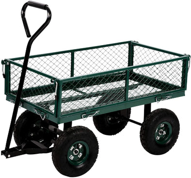 Garden Cart Heavy Duty Steel Utility Cart Yard Dump Wagon Cart Lawn Outdoor Utility Cart with Removable Sides and 10 Inch Wheels, Green
