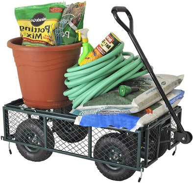 Heavy Duty Steel Garden Cart, Outdoor Lawn Wagon with Removable Sides and 10 Inch Wheels, Capacity Mesh Steel Folding Garden Utility Wagon, Green