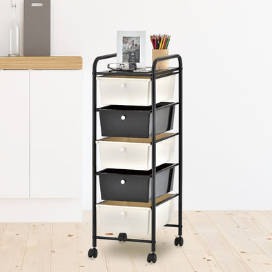 Storage Trolley On Wheels 5 Drawer Storage Unit For Salon, Beauty Make Up, Home Office School Paper Organizer