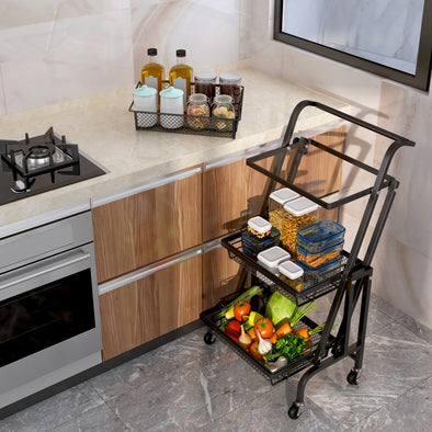 Metal Utility Cart 3-Tier Rolling Cart Multifunction Utility Cart Metal Kitchen Storage Cart with Steel Wire Baskets and Lockable Caster Wheels