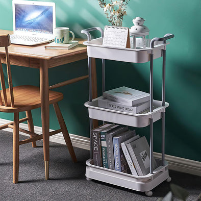 3-Tier Rolling Cart Storage Cart Shelves Utility Storage Trolley with Handles Wheels for Kitchen Bathroom Office