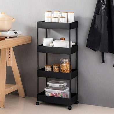 4 Tier Slim Storage Cart Mobile Shelving Unit Organizer Slide Out Storage Rolling Utility Cart Tower Rack for Kitchen Bathroom Laundry Narrow Places