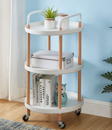 Storage Trolley Cart 3 Tier Rolling Utility Organizer Rack Craft Art Cart Multi-Purpose Organizer Shelf Tower Rack Serving Trolley for Office Kitchen Laundry Room Mobile Organizer