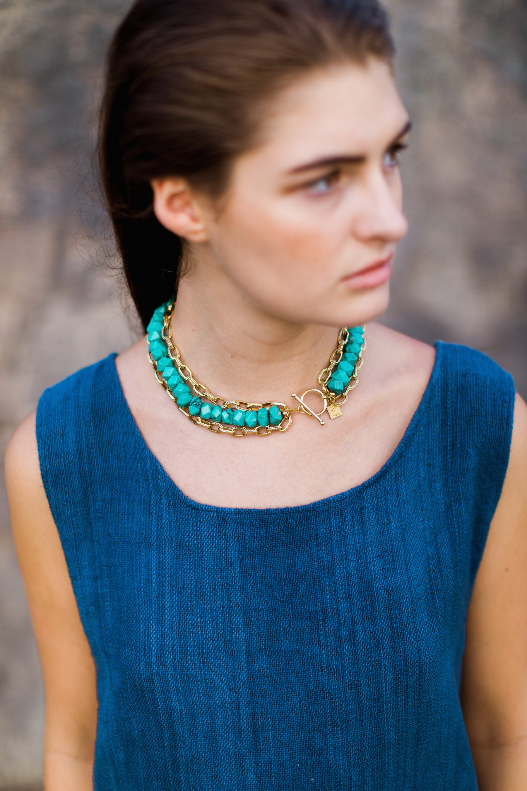 Turquoise & Antique Brass Collar Necklace