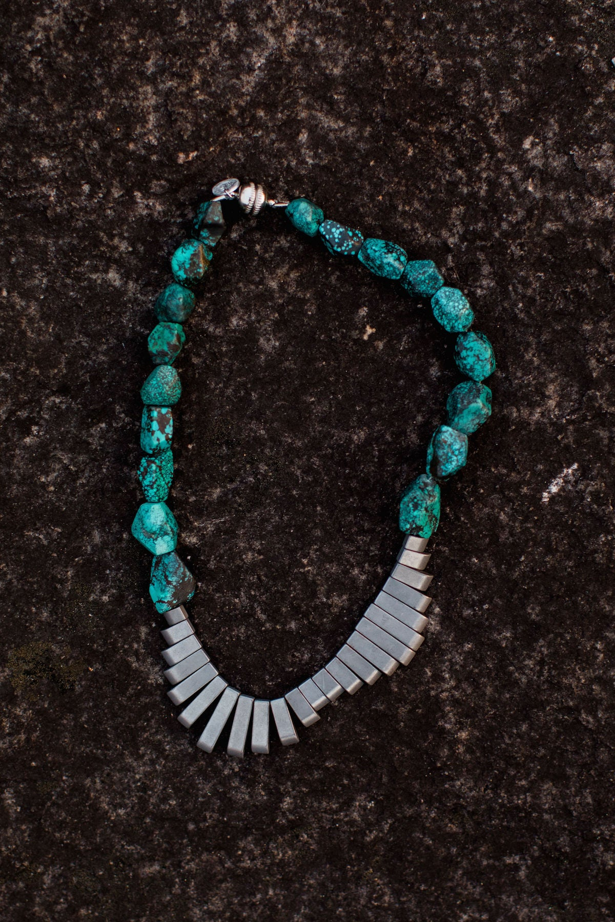 Turquoise & Antique Silver Hematite Fan Collar Necklace