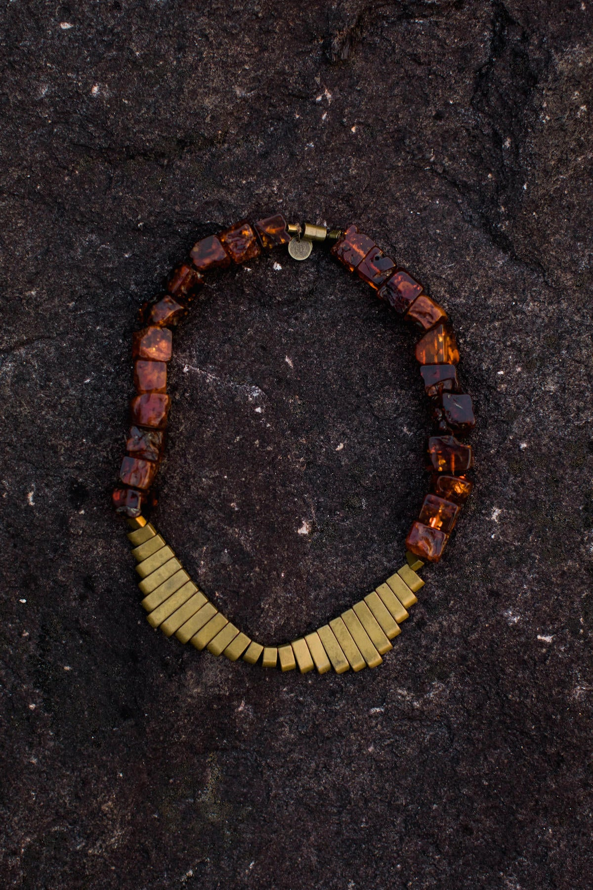 Large Baltic Amber Cube & Antique Brass Hematite Fan Collar Necklace