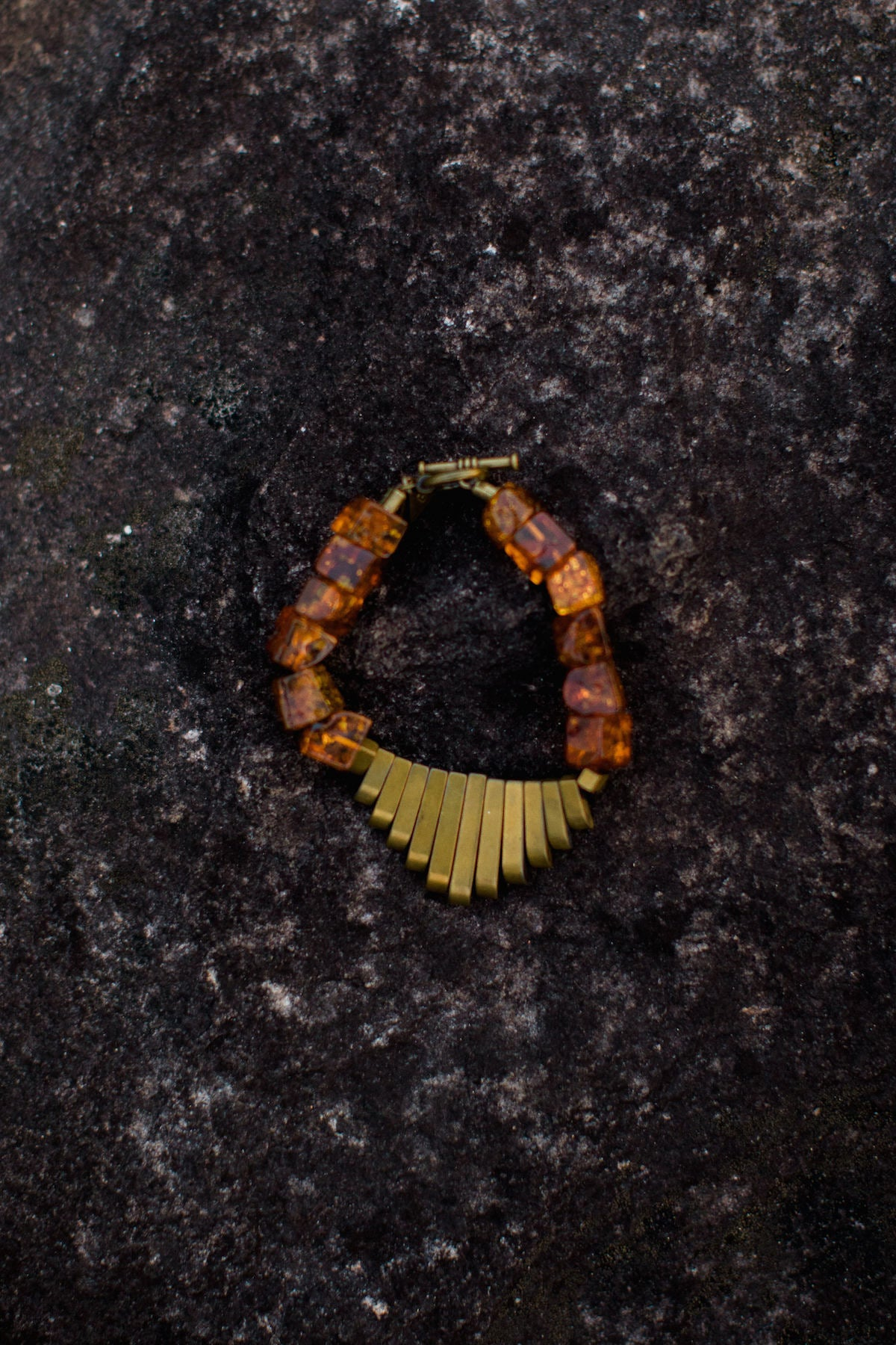 Small Baltic Amber Cube & Antique Brass Hematite Fan Goddess Bracelet