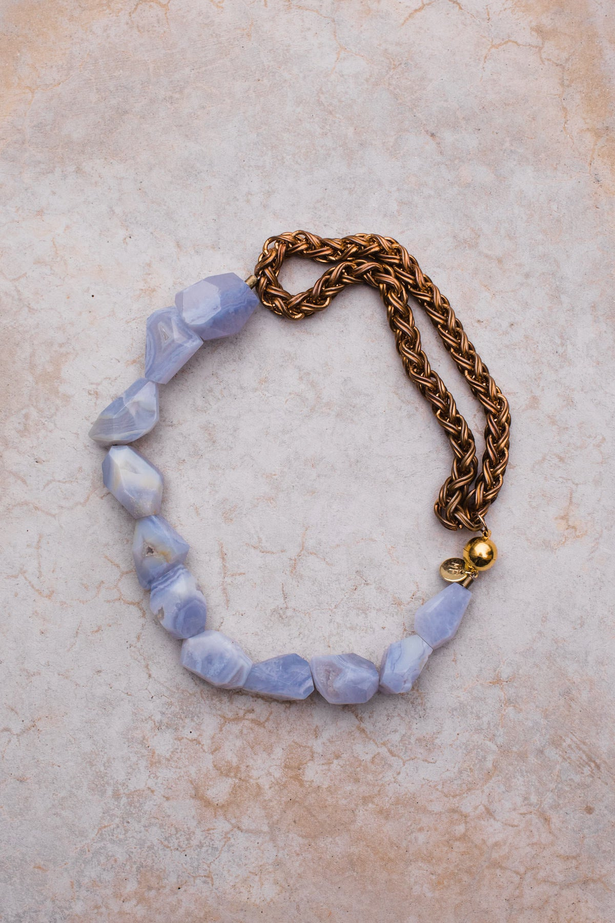 Blue Lace Agate Antique Gold Rope Chain Necklace