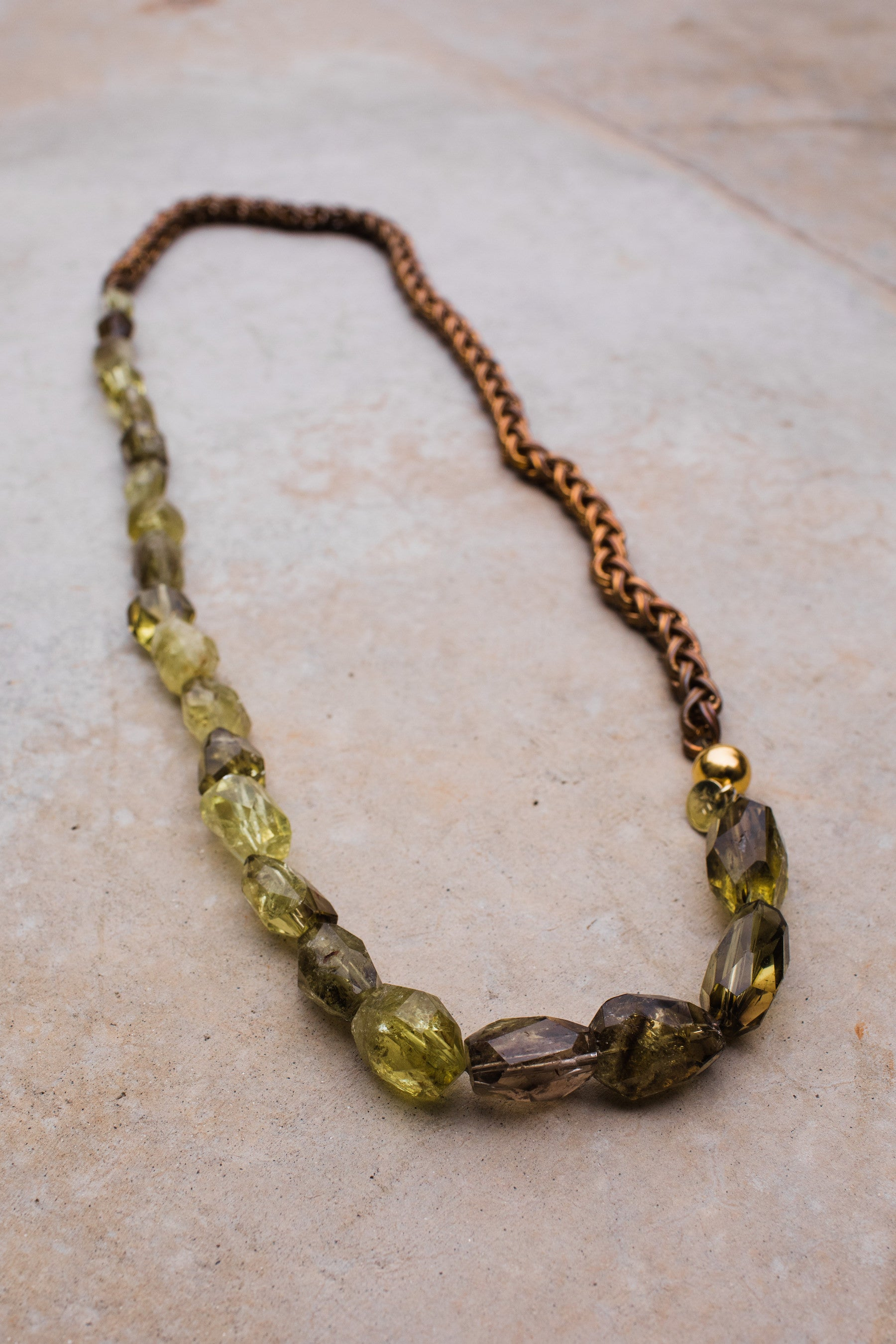 Citrine Phantom Antique Gold Rope Chain Necklace