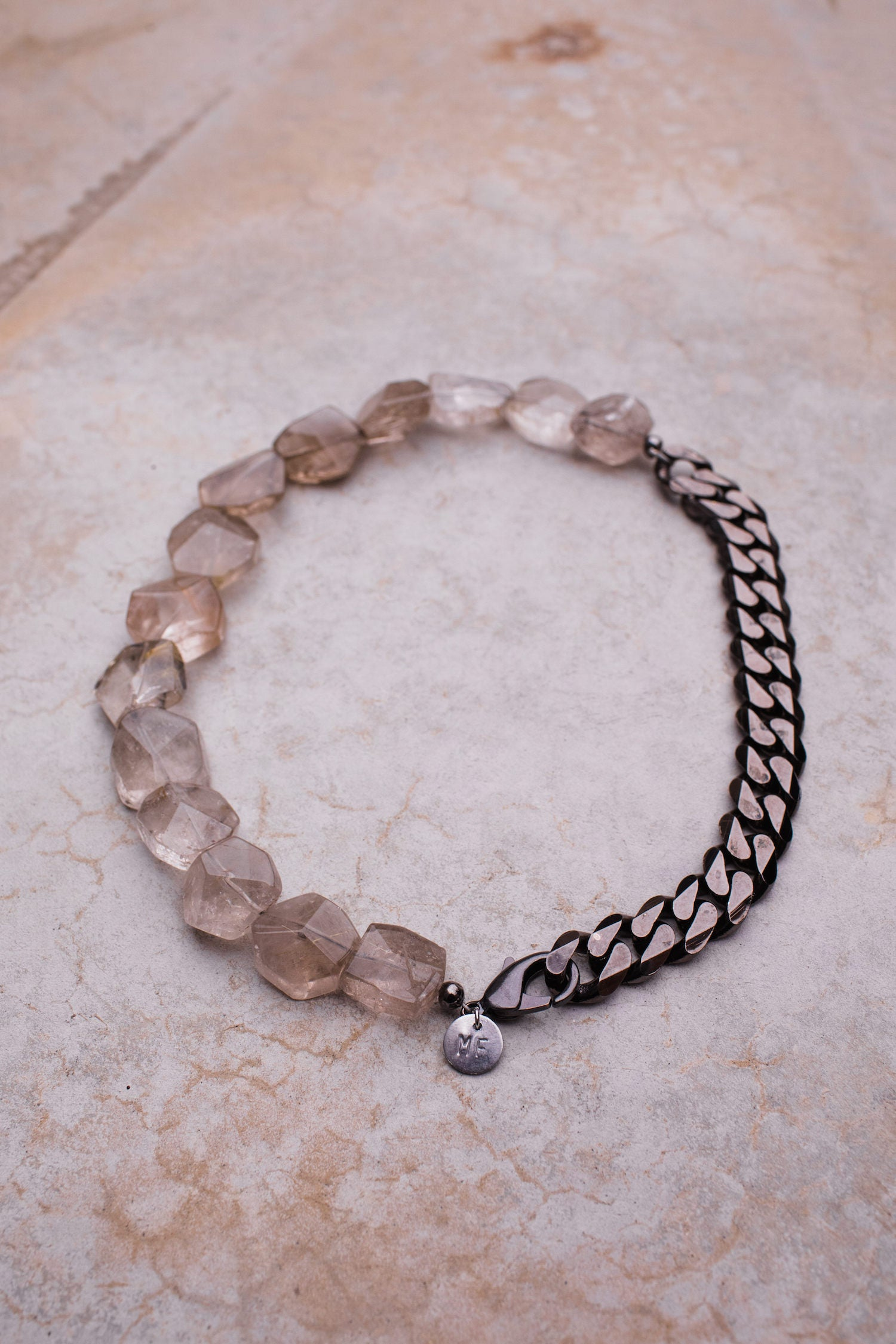 Faceted Rutilated Quartz Vintage Gunmetal Curb Chain Necklace