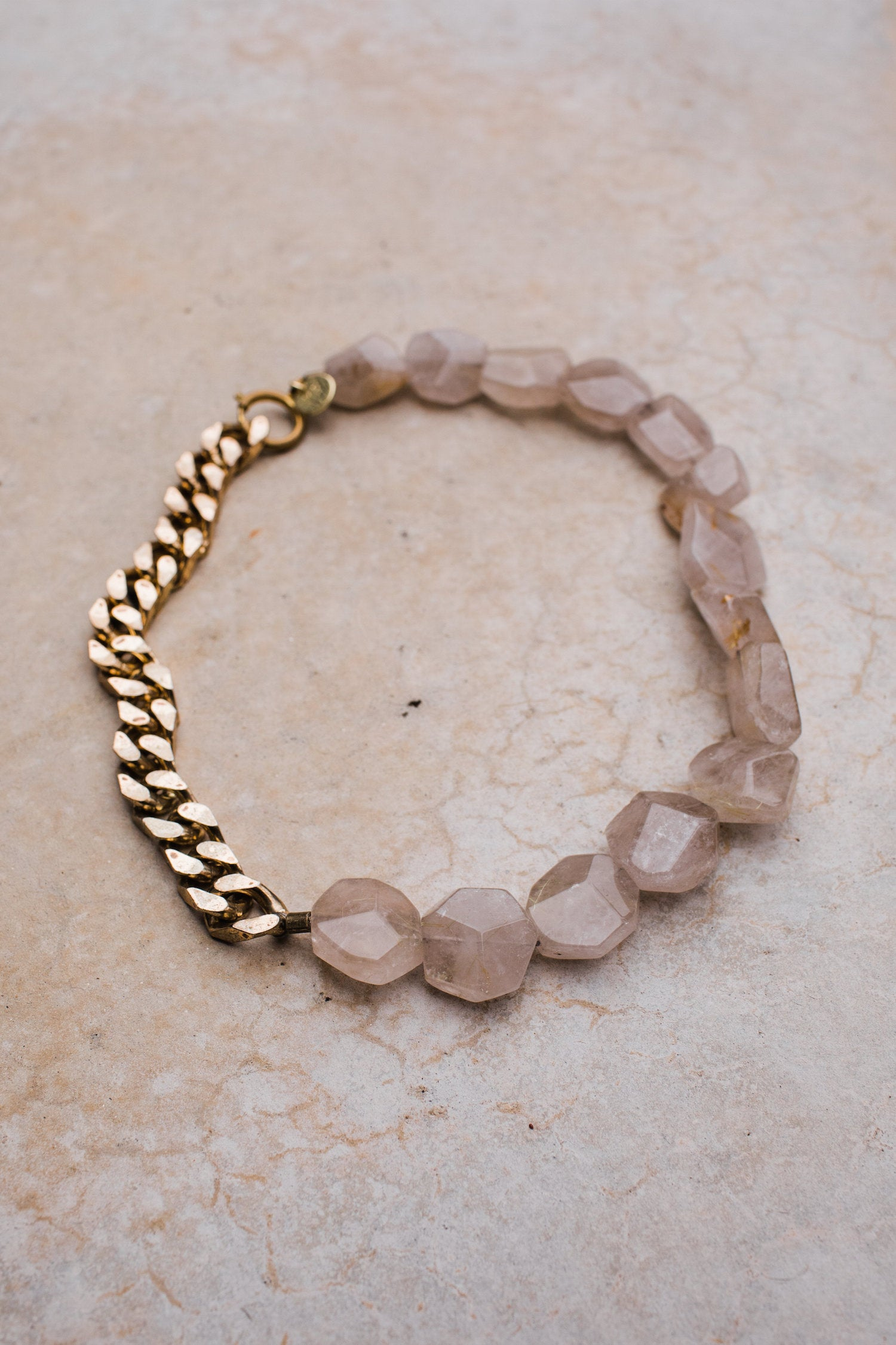 Faceted Rutilated Quartz Vintage Brass Curb Chain Necklace