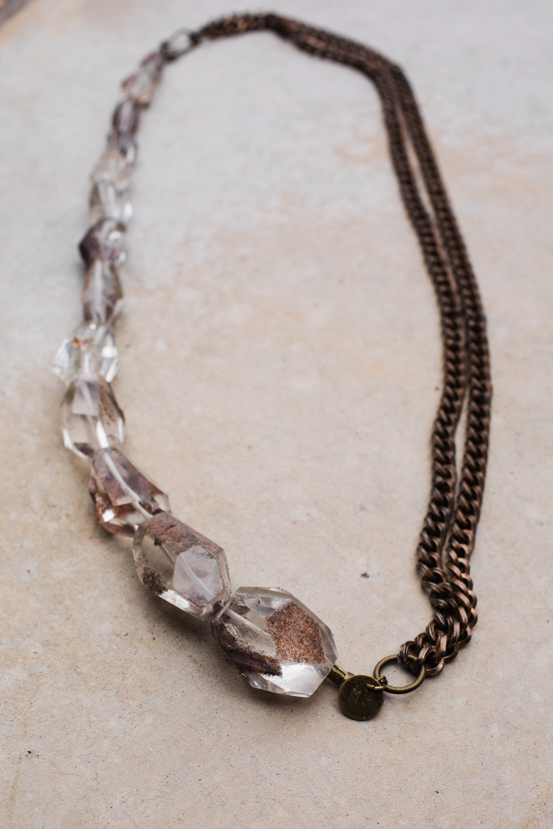 Faceted Lodolite Rose Gunmetal Chain Necklace
