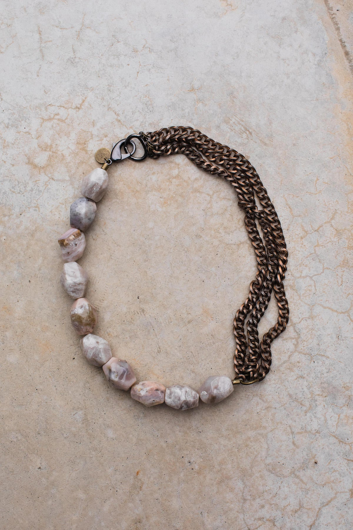 Peruvian Opal Pink Opal Rose Gunmetal Chain Necklace