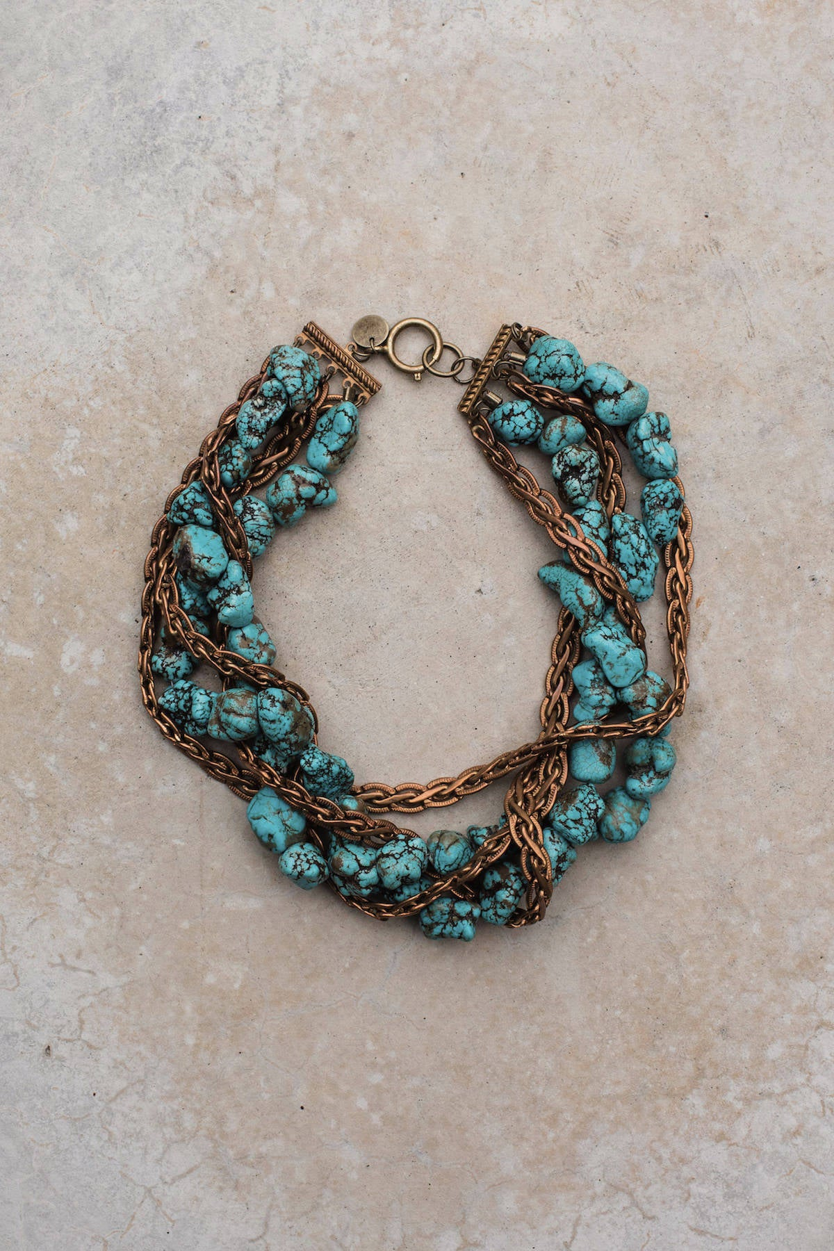 Turquoise Antique Copper Flat Rope Collar Necklace