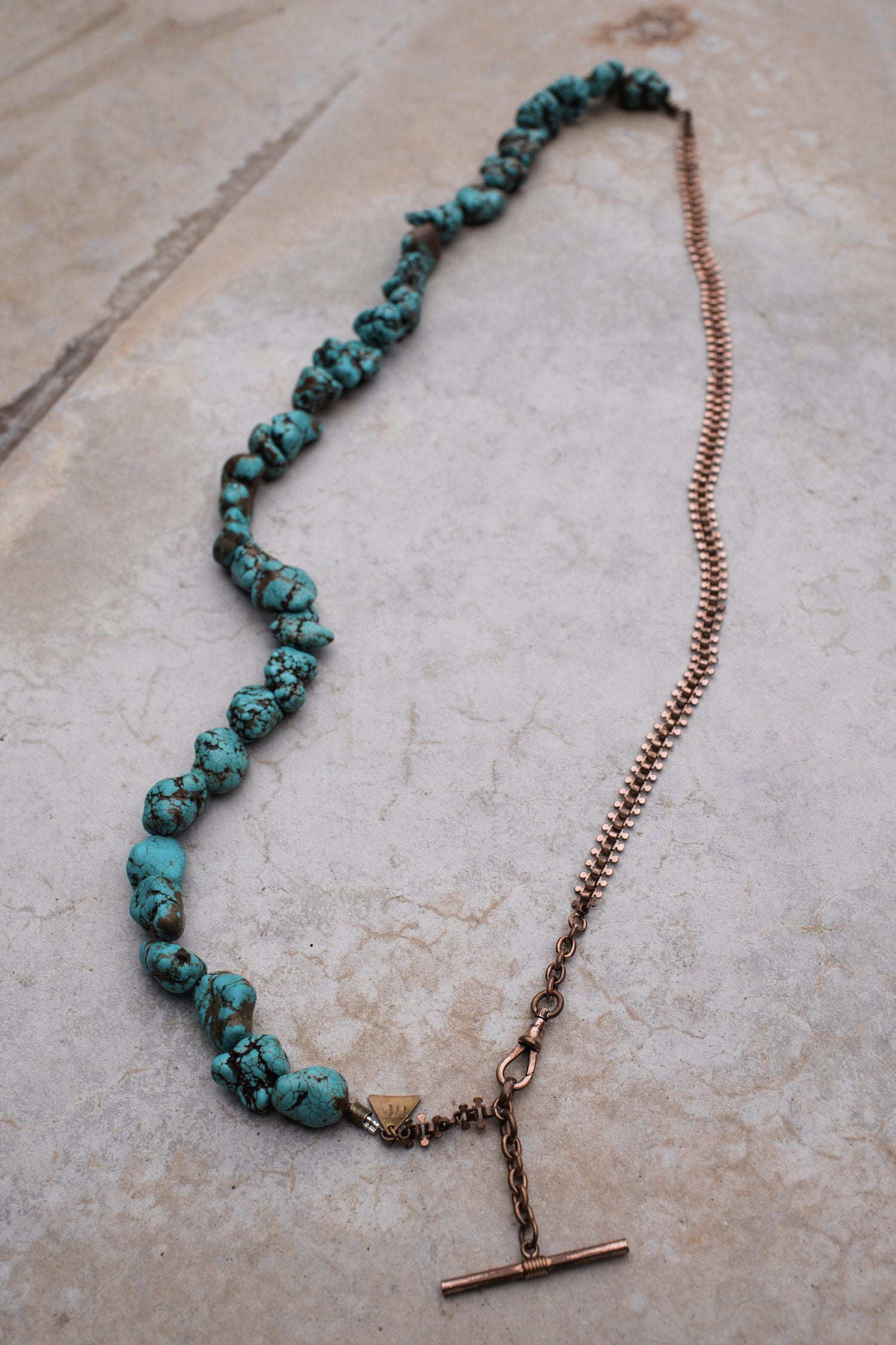 Turquoise Antique Copper Pocket Watch Chain Necklace