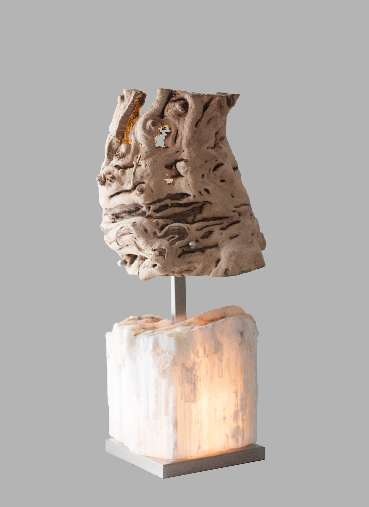 Stalagmite Small Table Lamp Selenite Grapewood