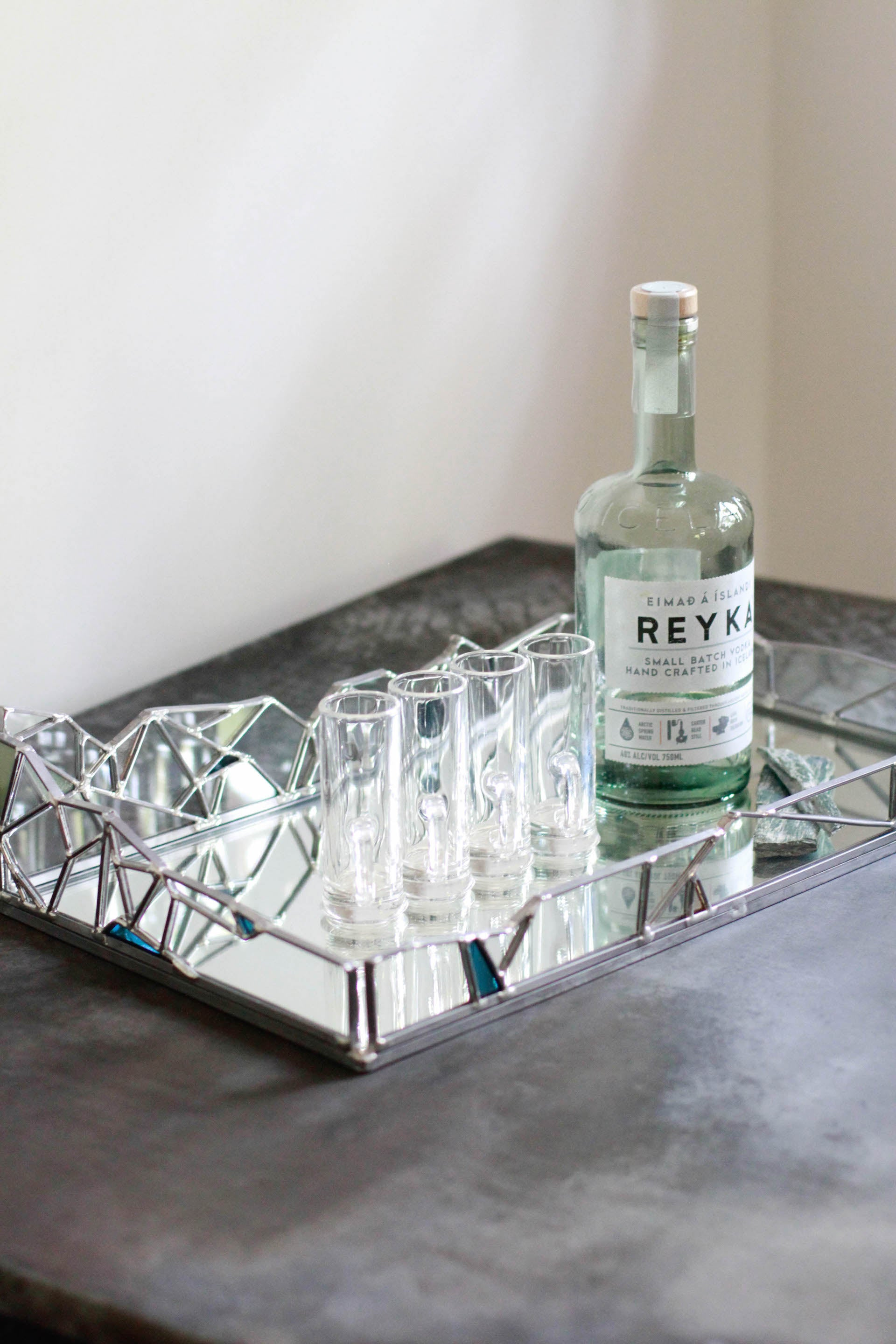 Large Glacier Tray Harpa Collection Stained Glass Tray