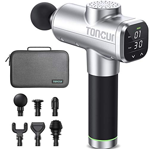 Toncur Massage Gun 2021 Upgrade 14mm Deep Tissue, HD Screen Percussion Massager with Timing Function, 30 Speeds, 6 Massage Heads Pain Relief for Athletes Gym Office Home Post-Workout Recovery