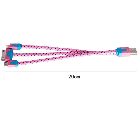 20cm 3 in1 Braided Flat USB Cable - CELLRIZON