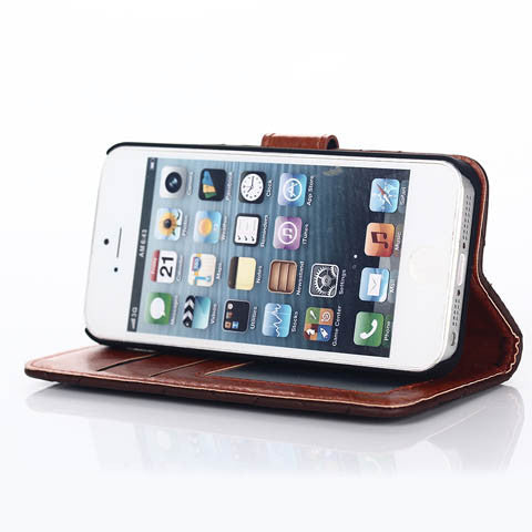 Skin Feel Embroidered Wallet Stand Case for iPhone 5s - CELLRIZON