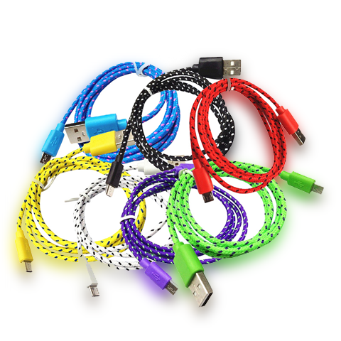 100cm Android Woven Round Wire v8 Cable - CELLRIZON