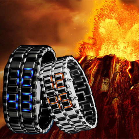 New Fashion Unisex Lava Iron Samurai Metal LED Faceless Bracelet Watch - Rama Deals - 1