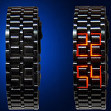 New Fashion Unisex Lava Iron Samurai Metal LED Faceless Bracelet Watch - Rama Deals - 2