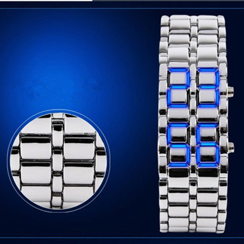 New Fashion Unisex Lava Iron Samurai Metal LED Faceless Bracelet Watch - Rama Deals - 3