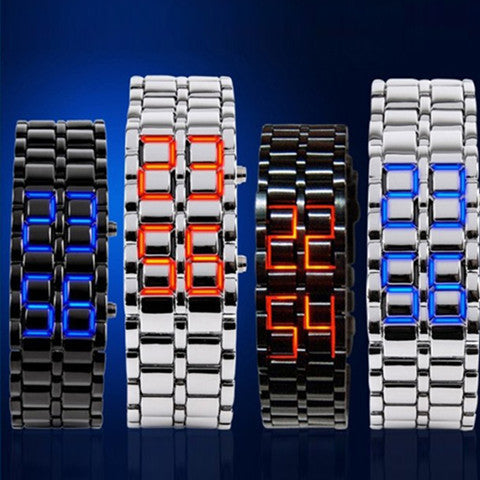 New Fashion Unisex Lava Iron Samurai Metal LED Faceless Bracelet Watch - Rama Deals - 5
